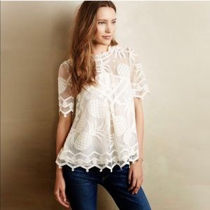 Anthropologie HD in Paris Pina Lace Pineapple Top